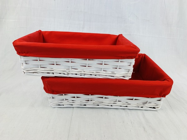 """CBY615T2 white willow and chipwood baskets with red fabric liner L: 14""""x9.2""""x4""""H, S: 12""""x8""""x3.5""""H"""
