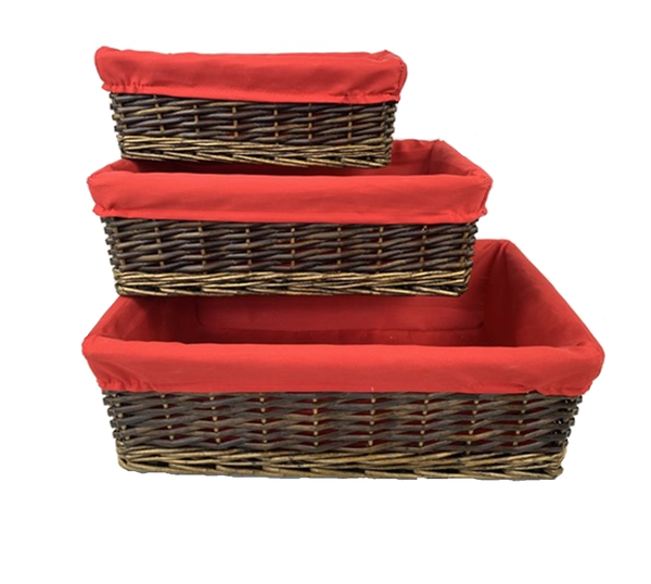 """CBY619T3 willow baskets with red fabric liner L: 17""""x11""""x5.2""""H, M: 14.4""""x9.2""""x4.4""""H. S: 12""""x8""""x4""""H"""