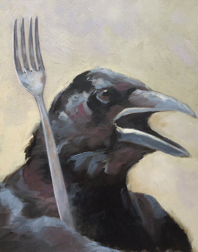 "Eat Crow 8"" x 10"" / sold oil on birch panel"
