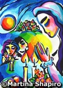 Family Shabbat Jewish original painting fine art