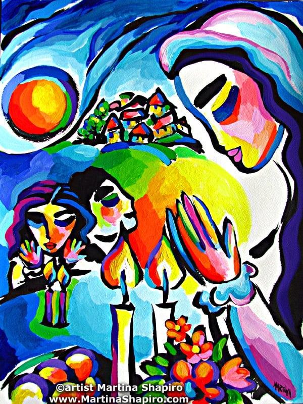 Family Shabbat original Jewish painting fine art by artist Martina Shapiro