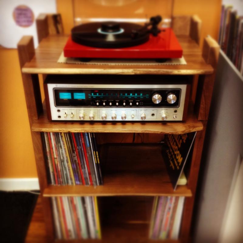 Live Edge Record Stand