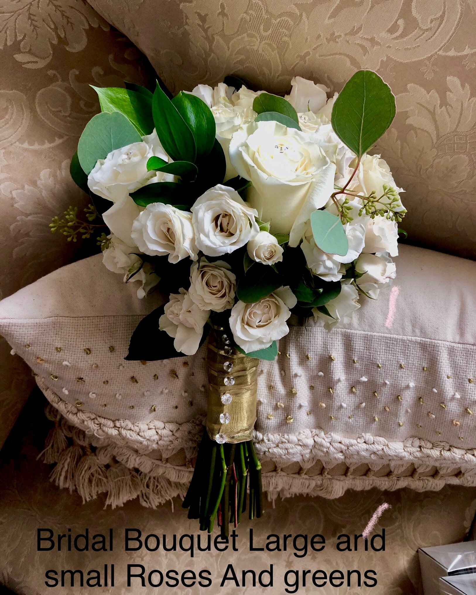 Bridal Bouquet Large and Small Roses and Greens