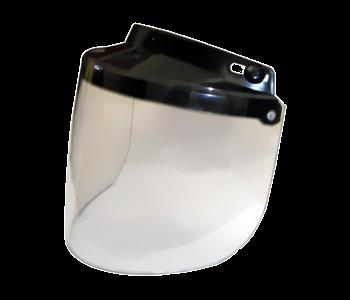 Écran adaptable sur casque Jet Se fixe par 3 pressions ajustables Relevable Couleur claire Prix: 34.79$