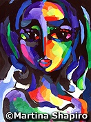 Girl On Purple abstract painting by Martina Shapiro