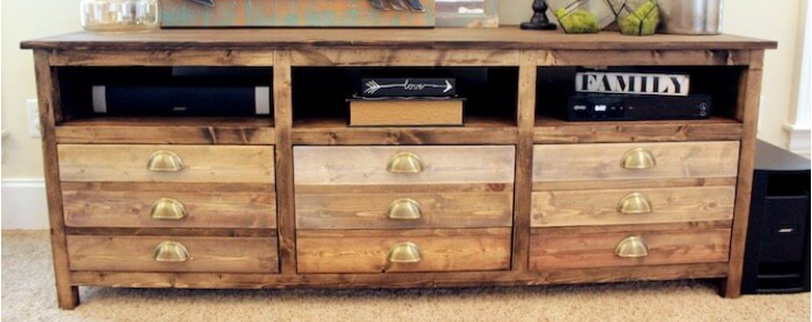 Reclaimed Fence Board Media Credenza