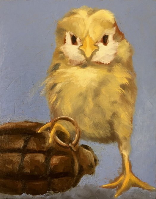 """Hatching up a Plan / study 8"""" x 10"""" / sold oil on birch panel"""