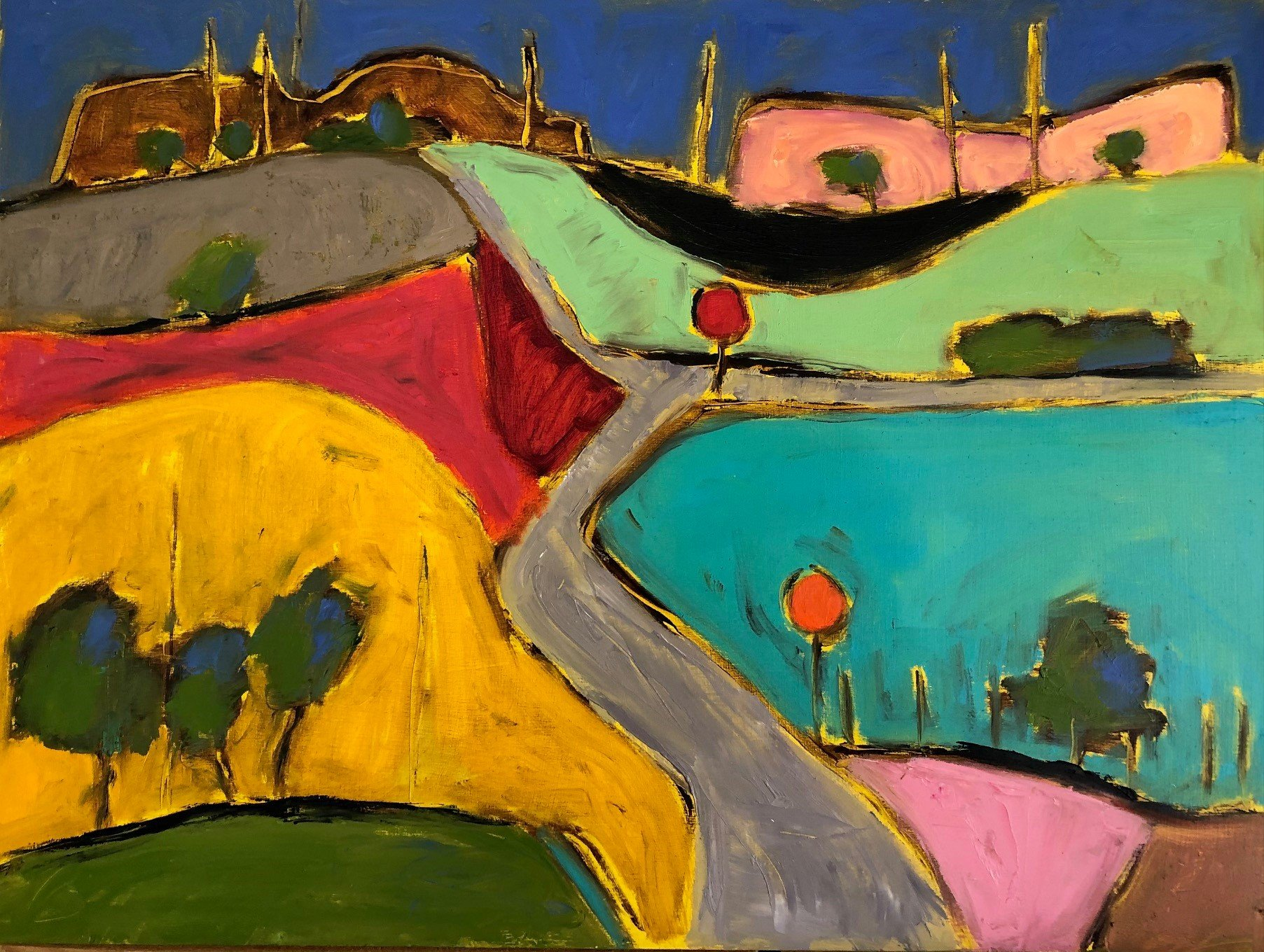 """Hill Country 18"""" x 24"""", Oil on board $500"""