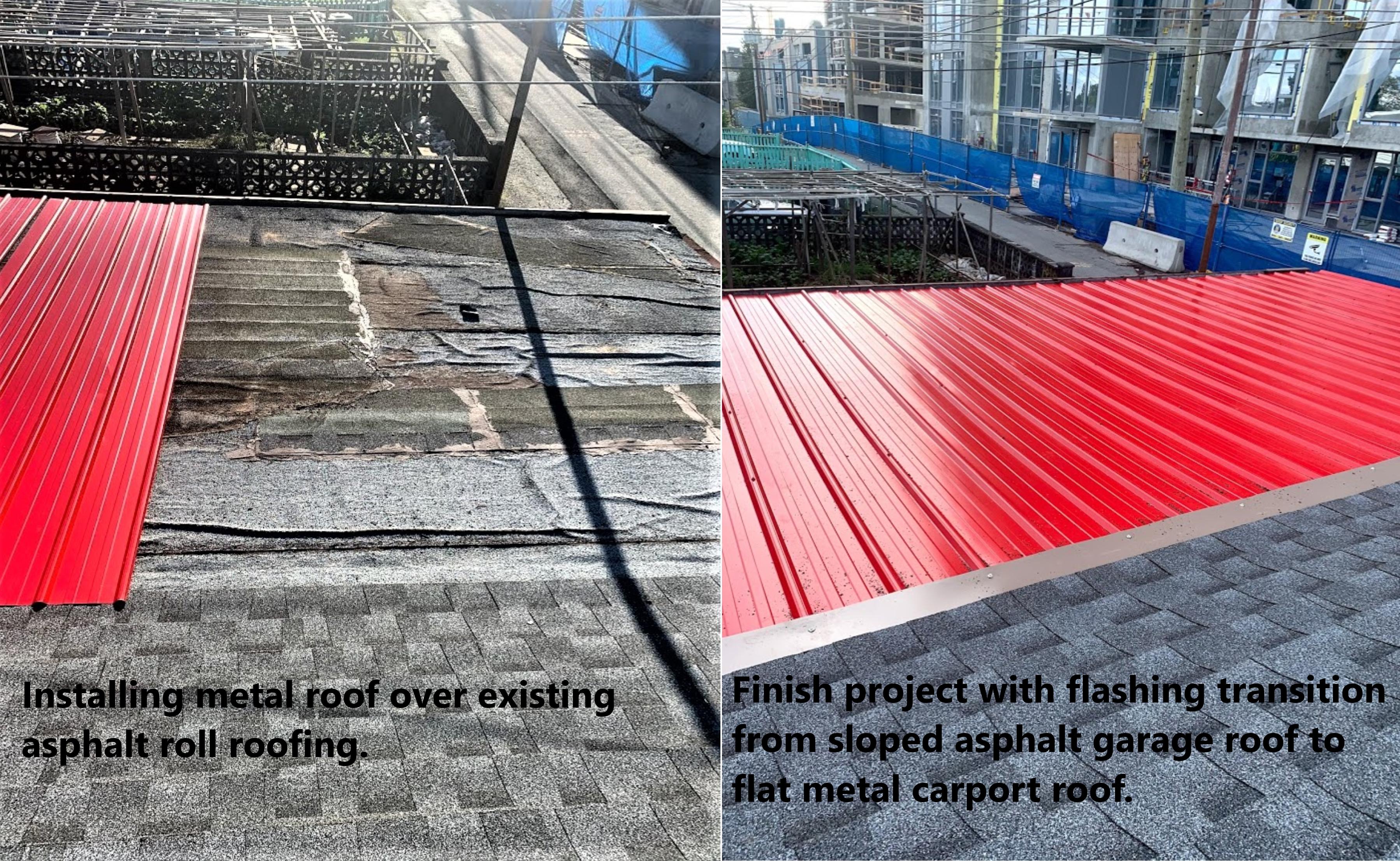 New metal roof installed over existing asphalt roll shingle flat carport roof.