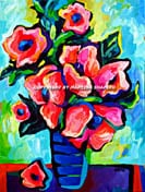 """<b>SOLD to London, UK.<br> """"Poppies On Blue"""", original<br> acrylic on canvas painting</b><br> 18""""x 24"""""""