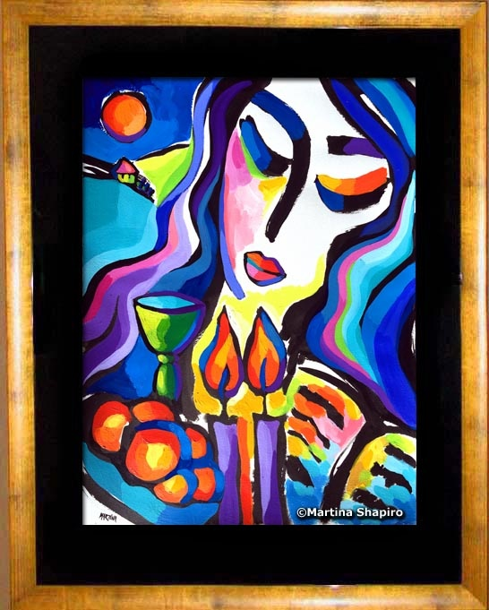 Tranquility of Shabbat painting by Martina Shapiro - example of framing