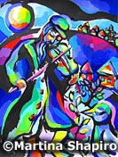 Fiddler and Bird Jewish painting original Judaic fine art