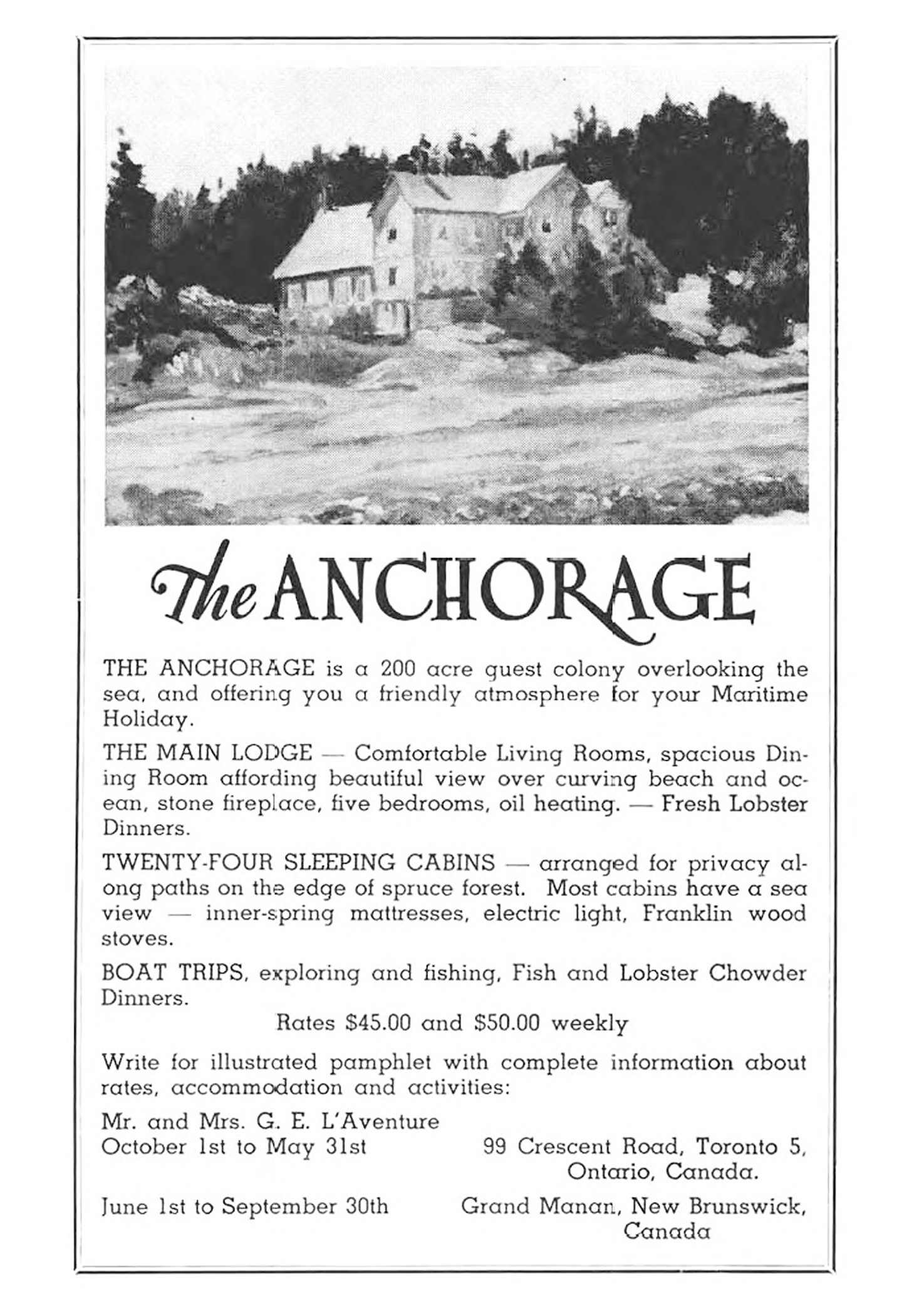 Advertisement for Anchorage from 1960s, before it was a Provincial Park