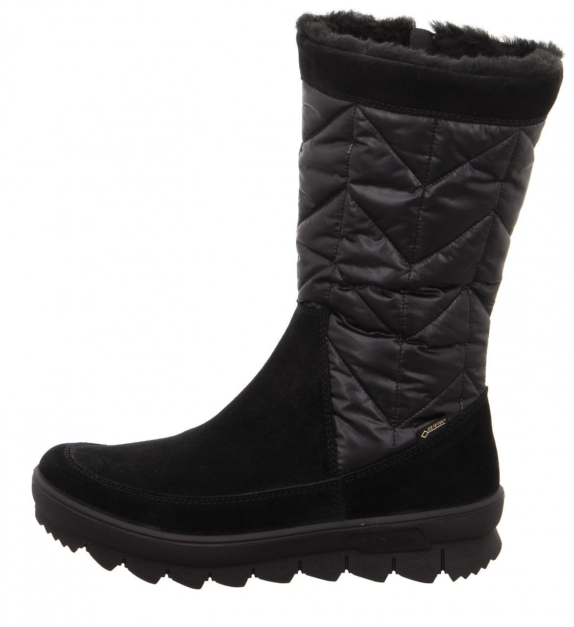 "NOVARA 934-00 BLACK WOMEN'S NOVARA is the classic among the boots of legero: its upper with padded quilt makes this model particularly special. The non-slip, yet very light and flexible sole with a striking sawtooth profile offers optimal stability on winter surfaces. The cozy warm lining in fur look with the proven GORE-TEX function is completely waterproof and with its breathability ensures optimum climate comfort in the shoe. Thanks to the side outer zip, it is possible to put on and take off quickly. The model, which is equipped with a removable insole, is offered in the comfort range ""G"". SKU 17267 REG 260. ALWAYS 229.00"