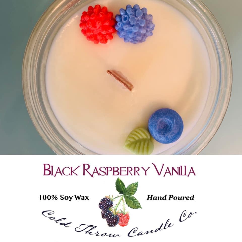 A  combination of sweet black raspberries warmed over vanilla.