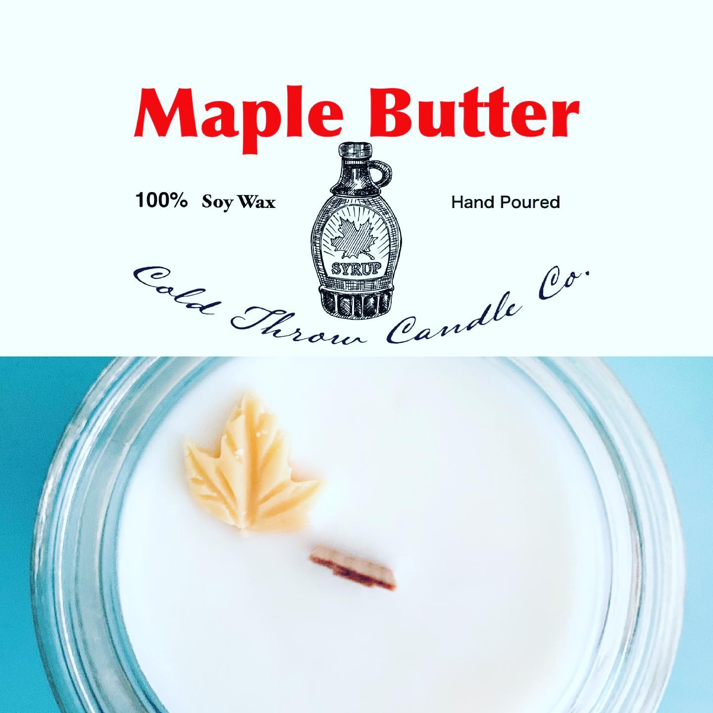 Sweet creamy butter blended with rich maple syrup and warm vanilla scent .