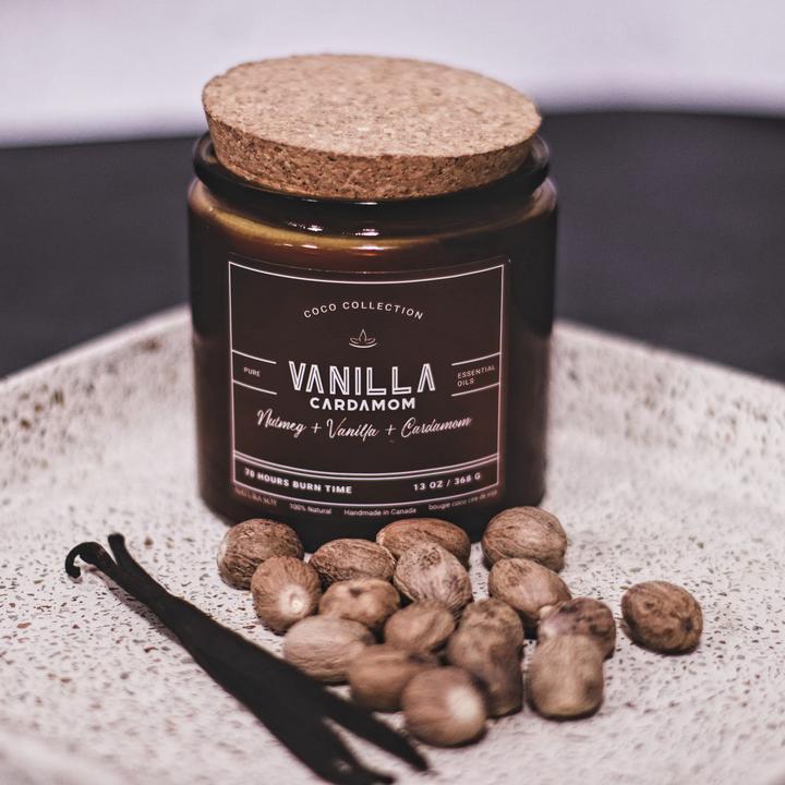 Vanilla Cardamom A sweet Sandalwood with Cardamom,  Laka wood, and Vanilla, Tonka and Nutmeg.