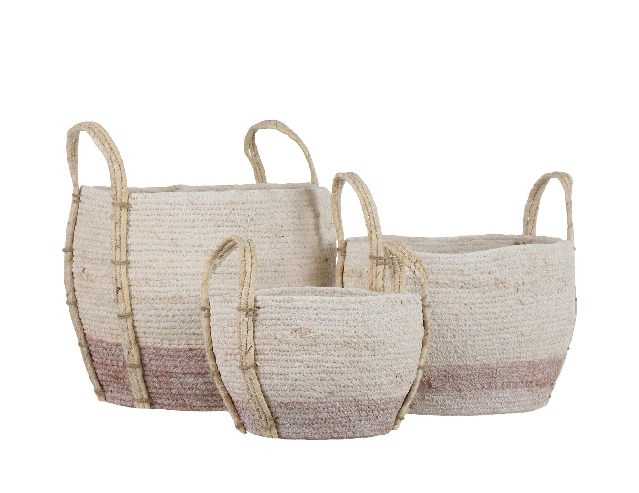 "Andros Blush Round Basket Small $19.99 Medium $29.99 Large 13""d x 11""h  $39.99"