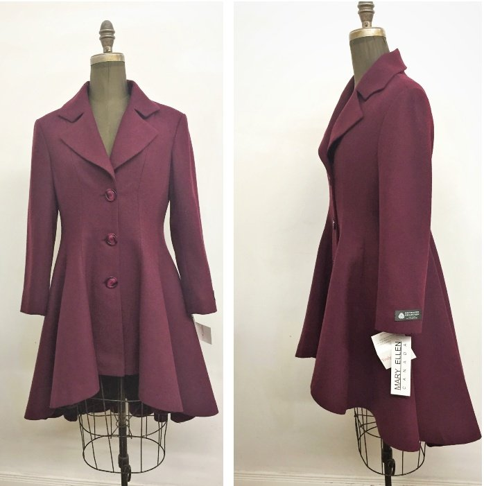 Style 6808 - Sangria 100% Merino Wool  Features:  Generous fit. Sophisticated, timeless and elegantly styled describes this beautifully  made Redingote Coat.  Fitted waist, front button closure. pockets on the seam.   Full chamois lining for warmth.  Includes extra buttons.  In-Stock Colours:  Sangria, or can be made in the coour of your choice.  Various Fabrics:  100% Merino Wool,  Cashmere & Wool, Alpaca/Mohair and Wool.  Sizes: M  Price:  $689