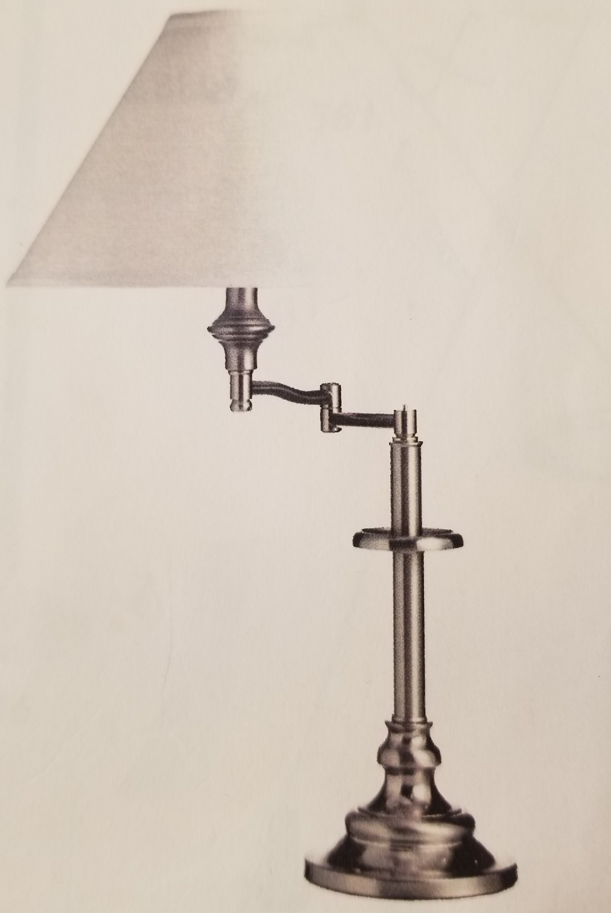 981 Swing Arm Table Lamp Made in Canada Available in Antique Brass,  Brushed Chrome, Black or Antique Bronze Regular Price $177.99 Sale Price $124.99