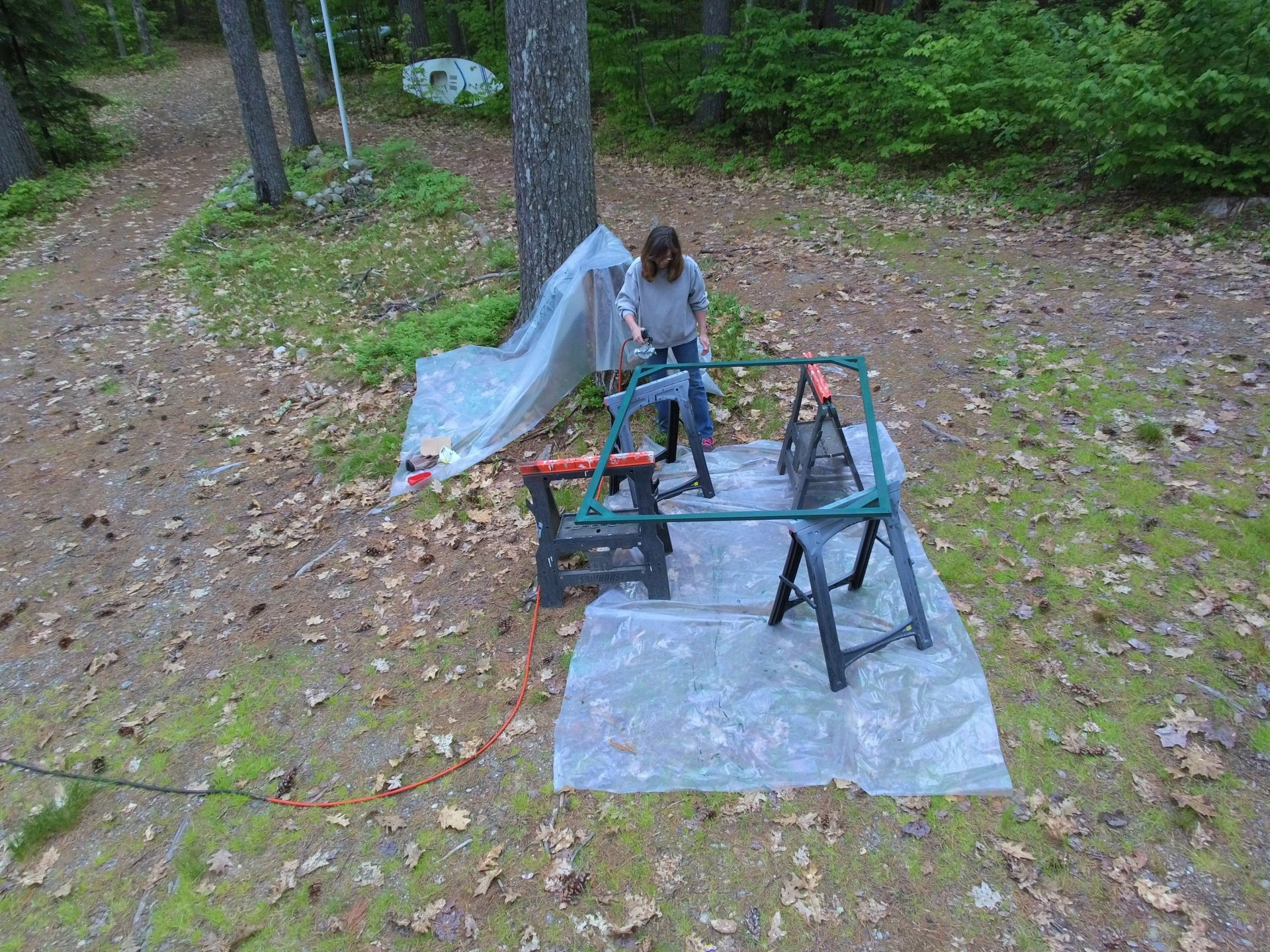 Lorrie painting MORE frames! There were a lot of them!