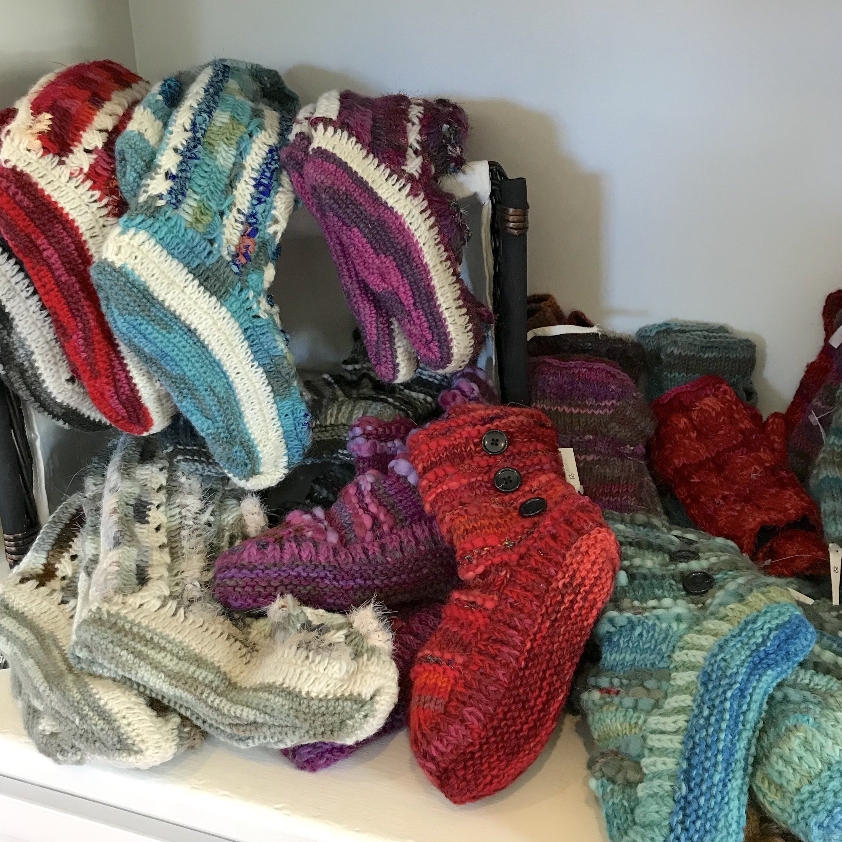 fleece lined wool slippers, gloves and hats will keep you warm all winter long!