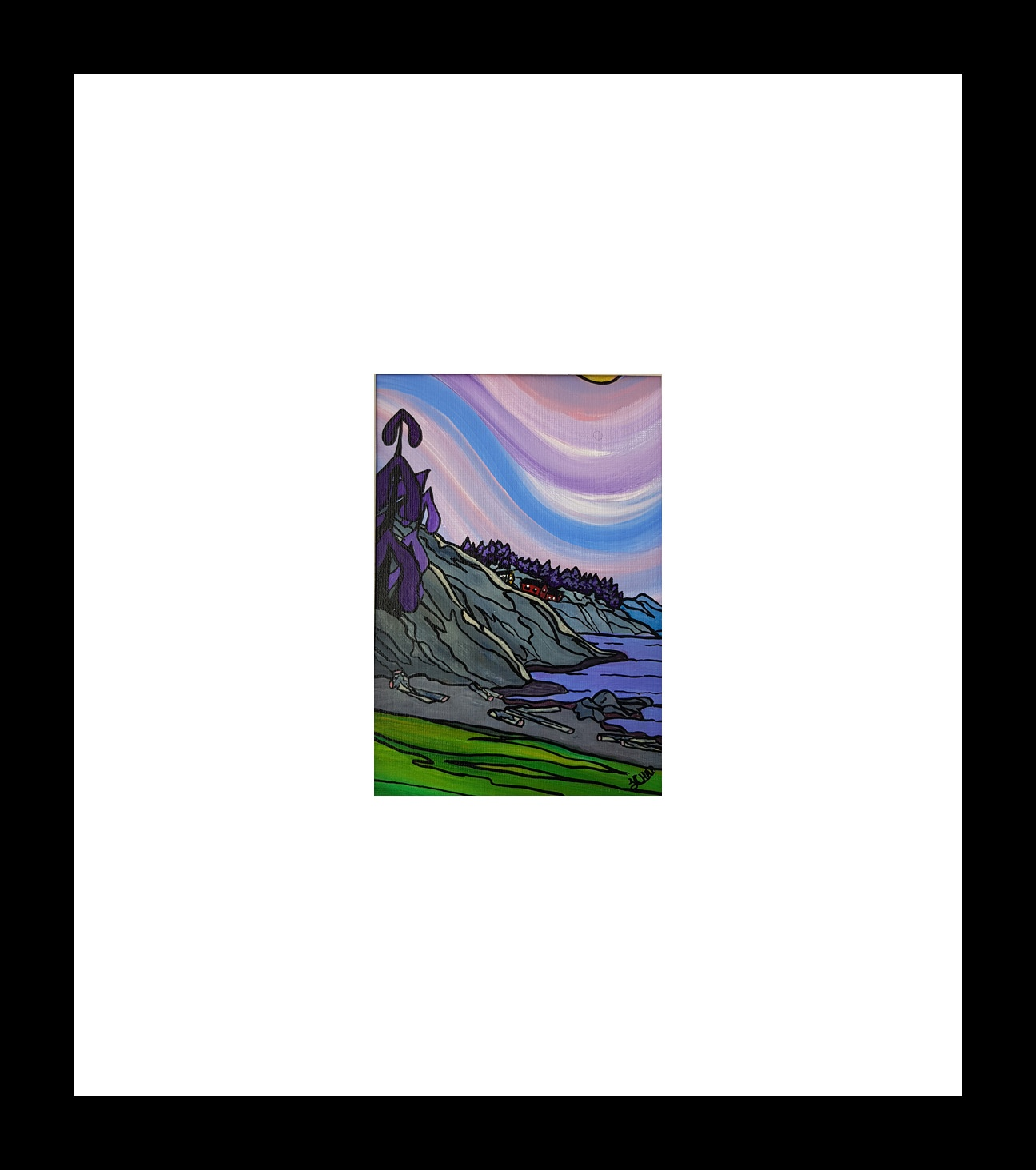 """Neck Point"" [2018] Image: 5"" x 7"". Framed: 12"" x 12"" Acrylic on 246 lb. paper $200.00"