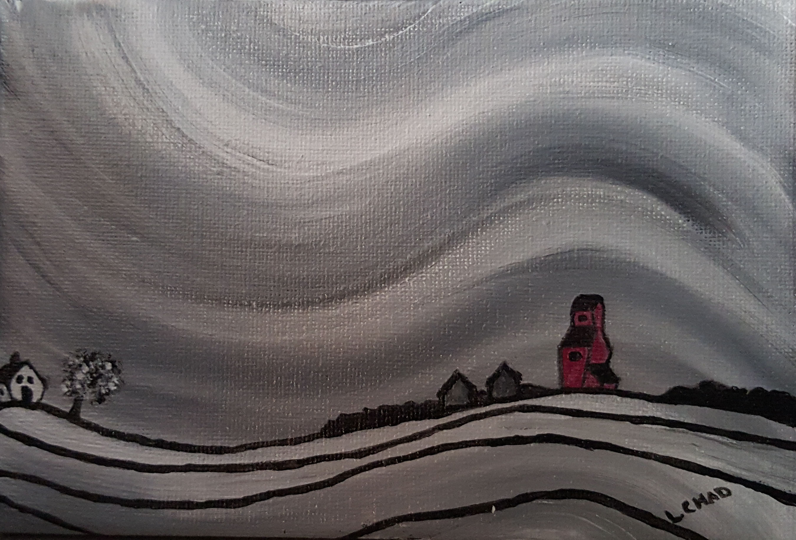 """Prairie Frost"" [2015] Acrylic on canvas. 7"" x 4.75"" (unframed with easel) SOLD"