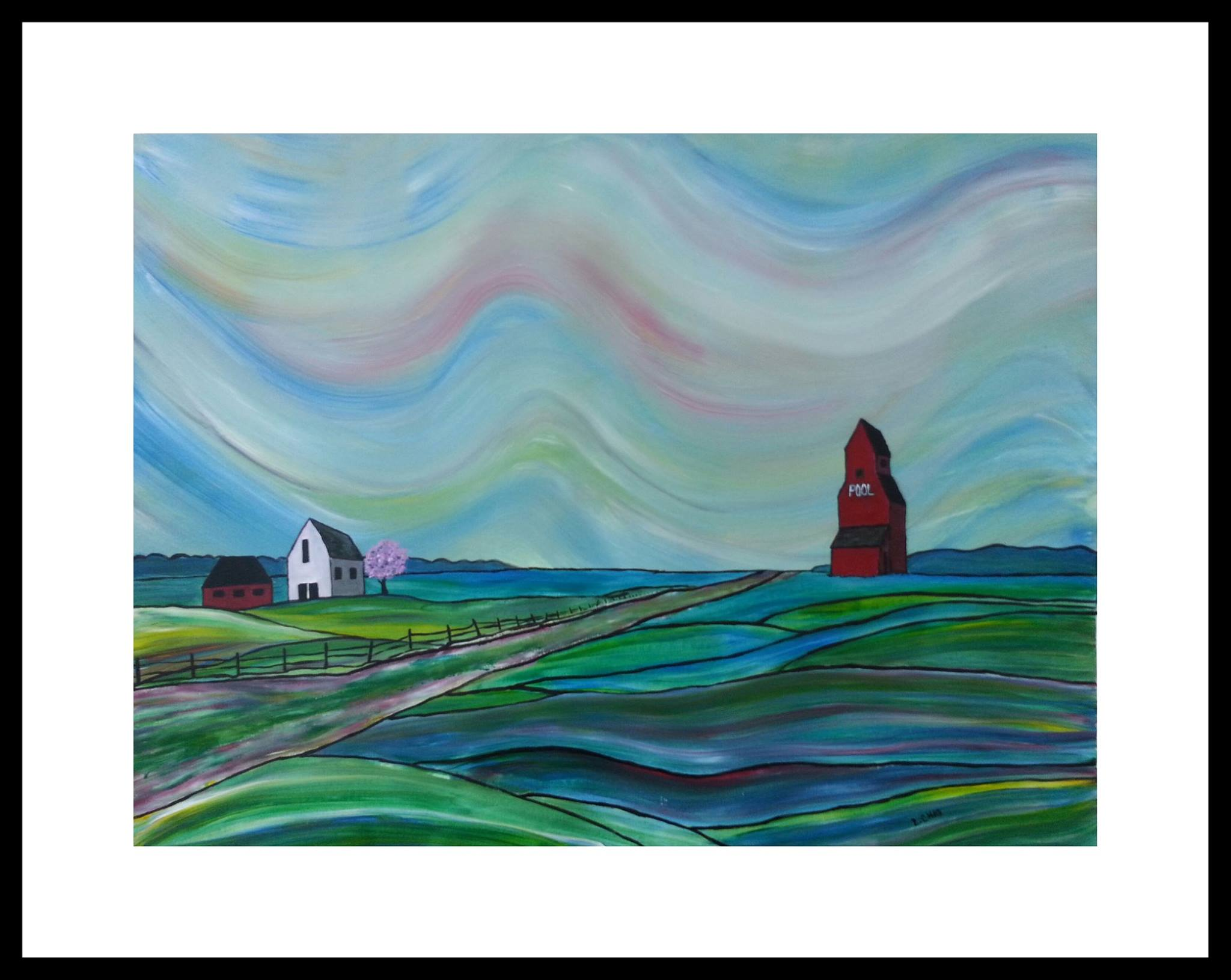 """Prairie Sea"" [2015] Acrylic on paper. 22.5"" x 16.5"" (image). 30.5"" x 24.5"" (framed). SOLD"