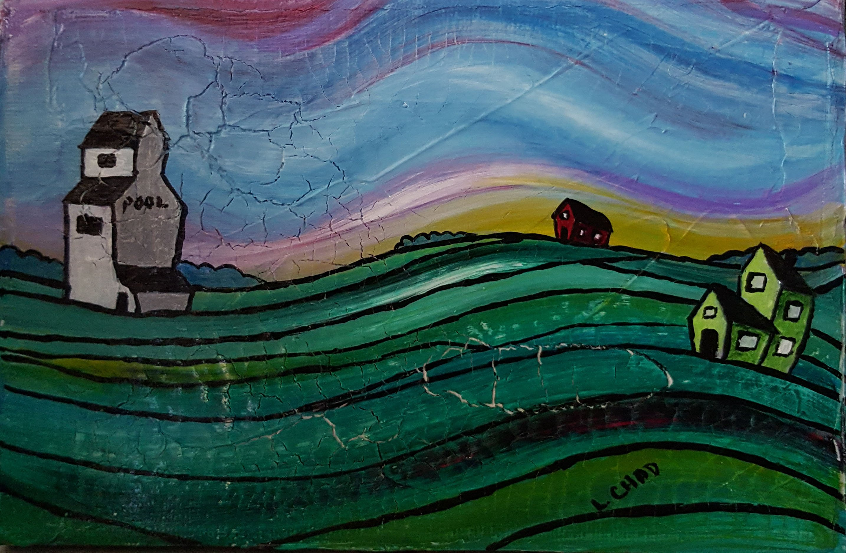 """Prairie Whimsy"" [2015] Acrylic on canvas. 7"" x 4.75"" (unframed with easel) SOLD"