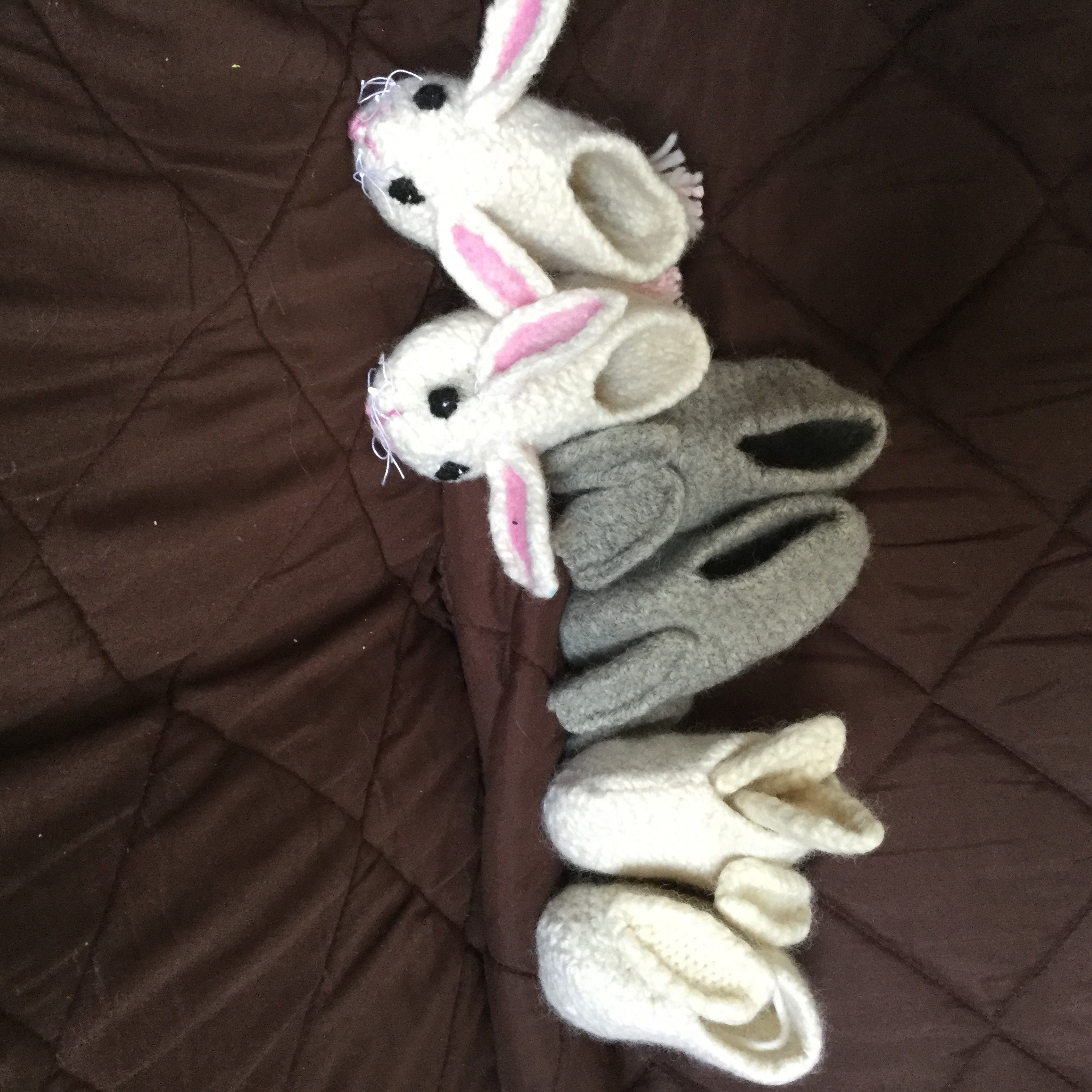 Shelley - knit and felted the toddler slippers.