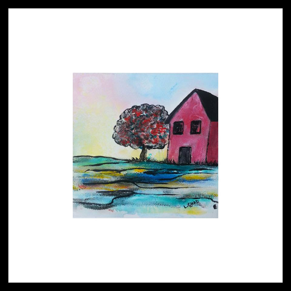 "2015-08 ""This Old House"" Framed 14"" x 14"" Acrylic on 246 lb. paper $95.00"