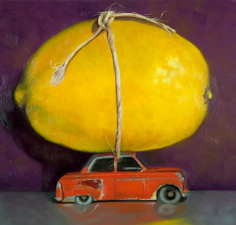 "A Lemon 18"" x 18"" / sold oil on canvas"