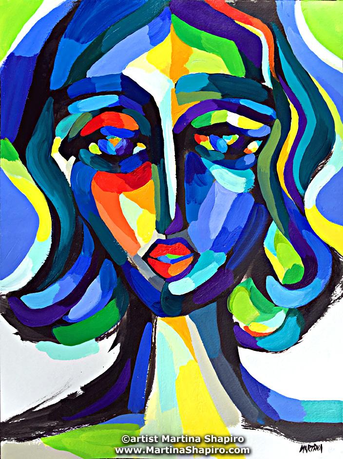 Blue Woman Expression  original painting by artist Martina Shapiro