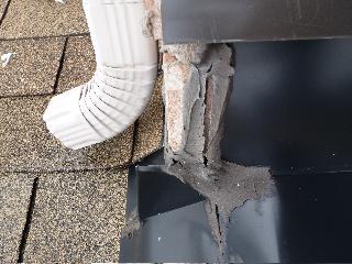 Cracked Caulking Joint on Roof Flashing