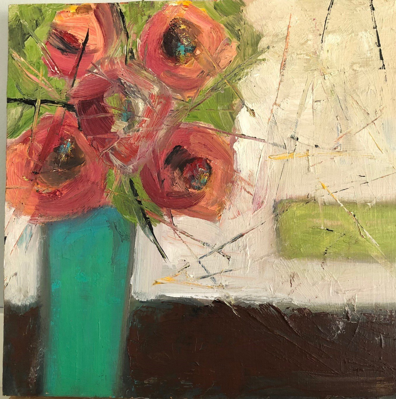 """Cut Flowers 10"""" x 10"""", Oil on canvas SOLD"""