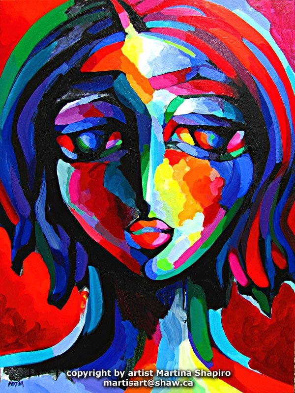 Expression In Red abstract woman portrait painting by artist Martina Shapiro