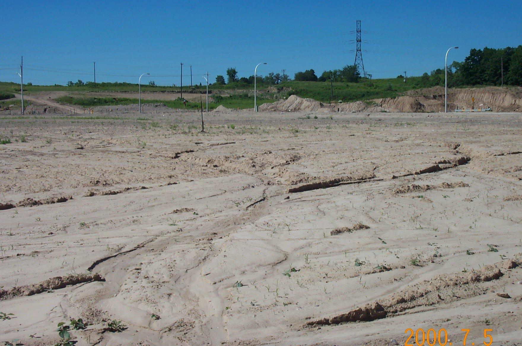 Urban soil erosion - new subdivision.