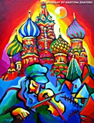 "SOLD to St Martin d'Hères France. ""Fiddler in Russia"" original oil on canvas painting, 18x24 inches"