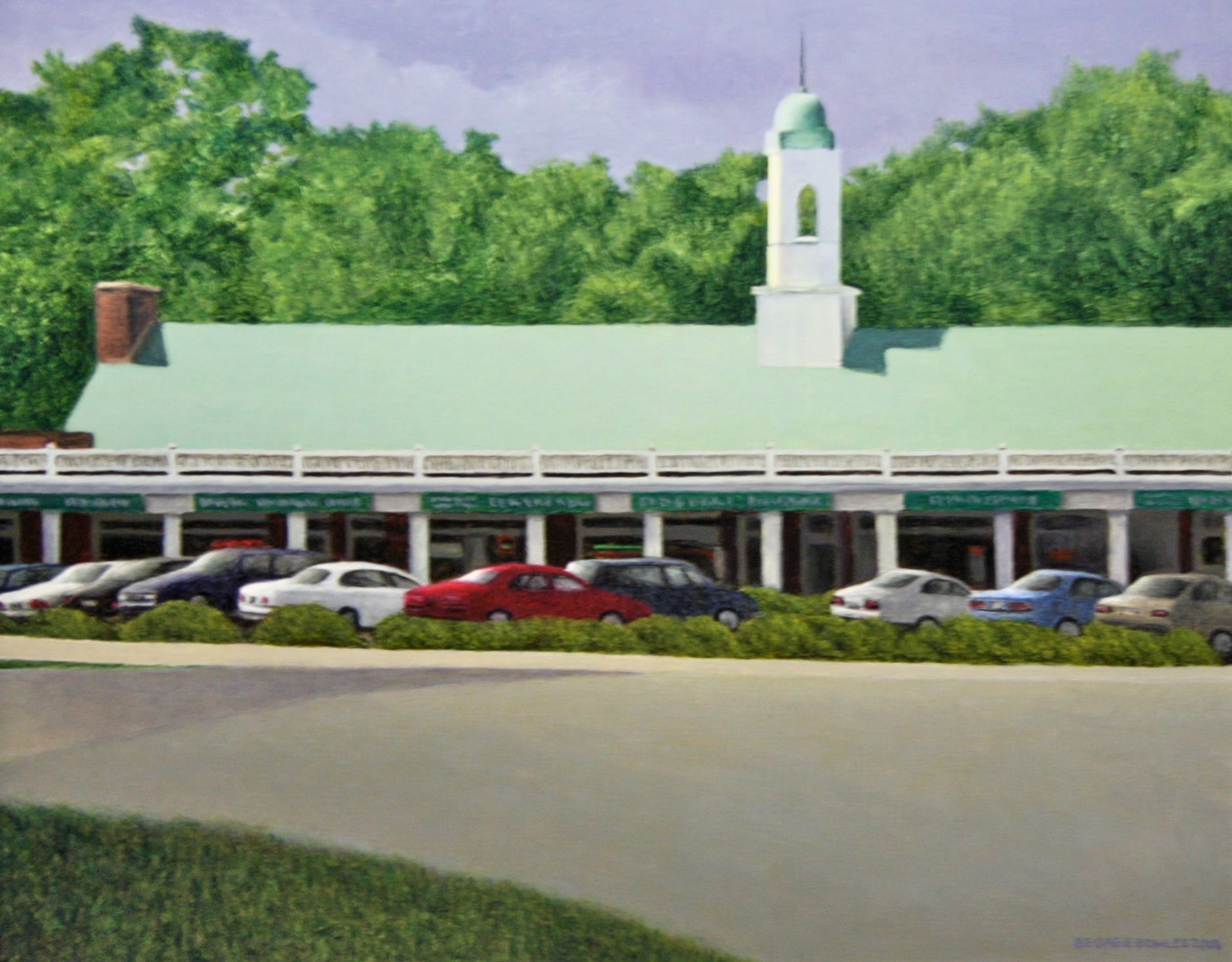 """Arlington Forest Shopping Center"" 16"" x 20""  Alkyd on board $ 1500"