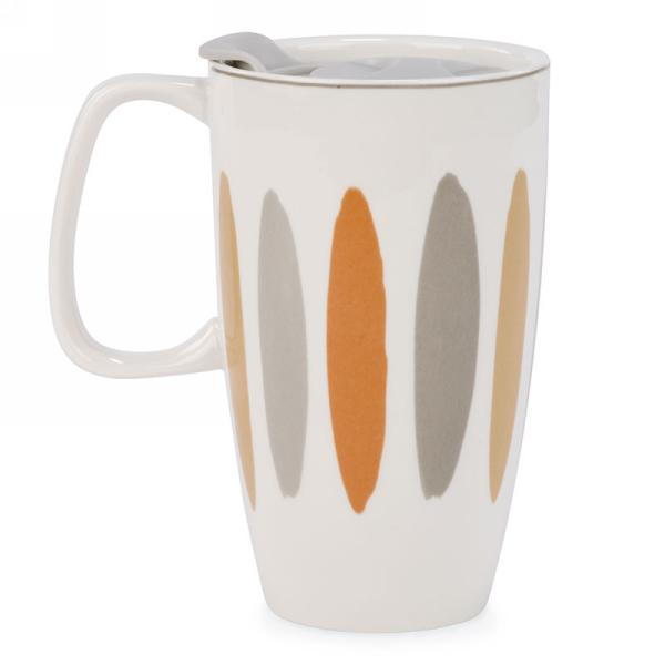 "Ceramic Striped Travel Mug 4"" x 6"" $12.99"