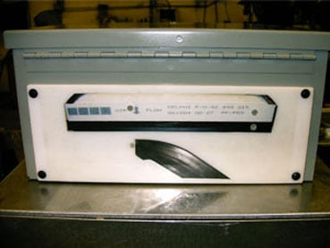 Poka-Yoke Fixture for Air Filter Assembly  LED's show status of items checked - # of bars, filters present and placement.