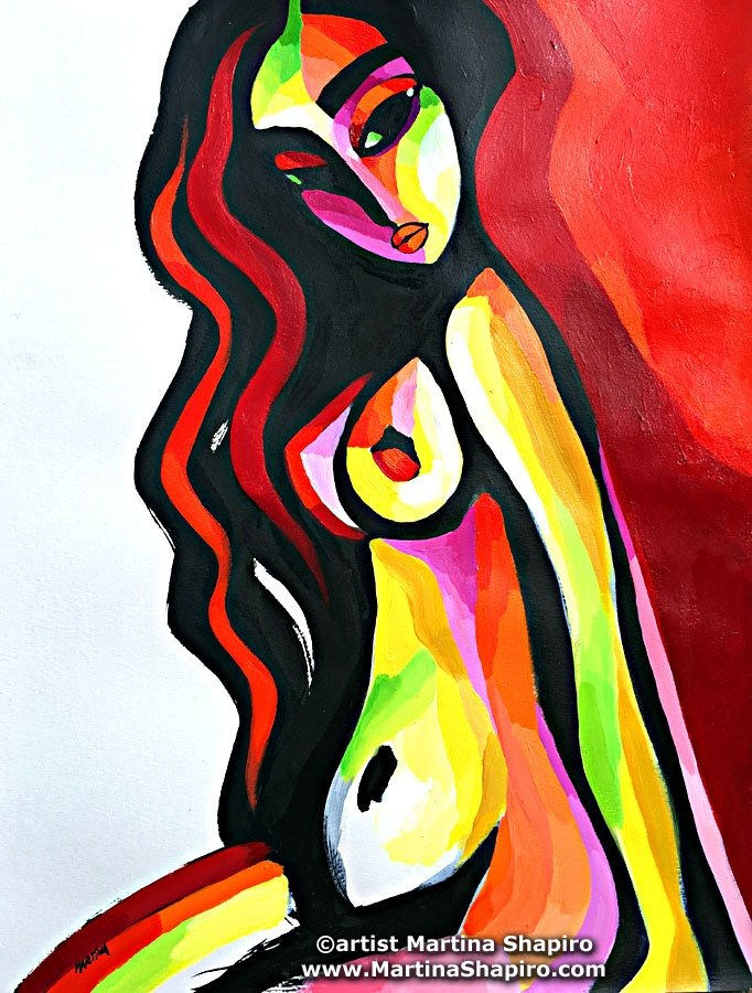 Abstract Red Sitting Nude painting expressionist female nude fine art by artist Martina Shapiro