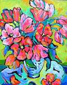 """<b>SOLD to OR, USA.<br> """"Red Tulips In Blue Vase""""<br> original oil on canvas painting</b><br>24 x 30"""""""