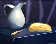 """Pewter Pitcher, Knife, and Bread"" 16"" x 20"" Alkyd on hardboard $ 2900"