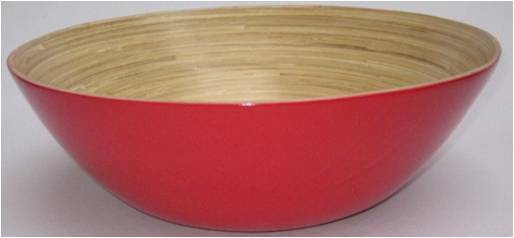 """VB813RRS Small Round bamboo bowl - red-14""""Dx5""""H"""