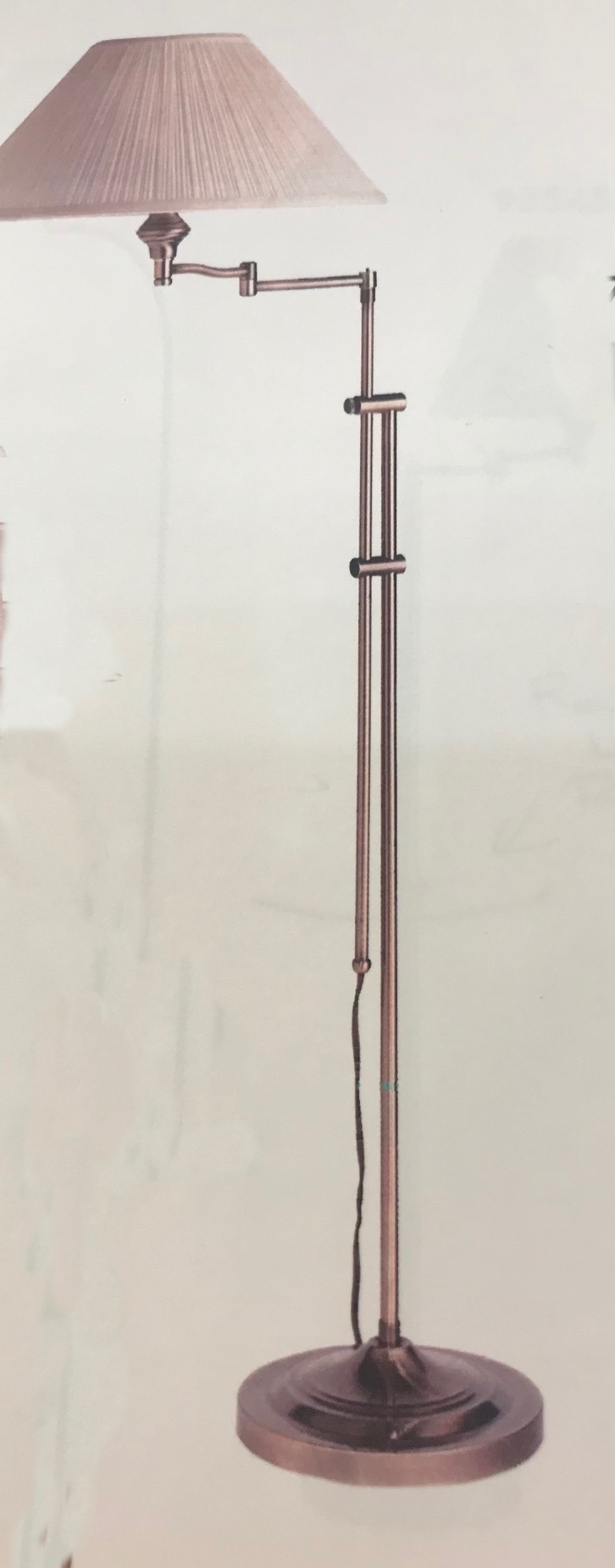 1035 Adj. Swing Arm Floor Lamp Made in Canada Available in Antique Brass or Brushed Chrome Regular Price $267.99 Sale Price $187.99