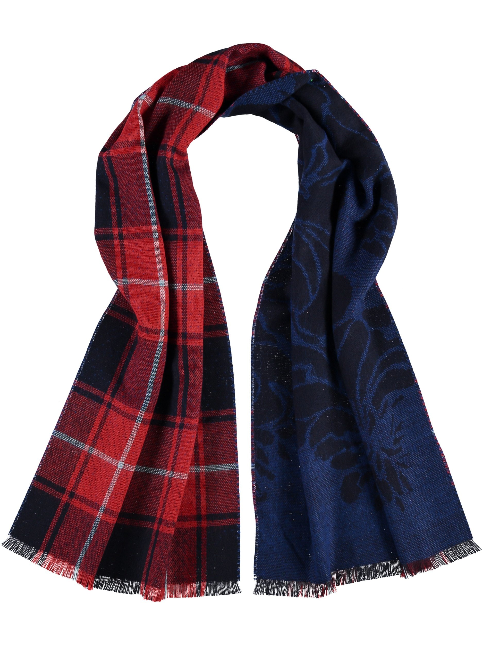 Shawl: Royal Blue & Red Plaid- $26.00 Polyacrylic, Made in Germany 77189200825 Several colour variations available in store