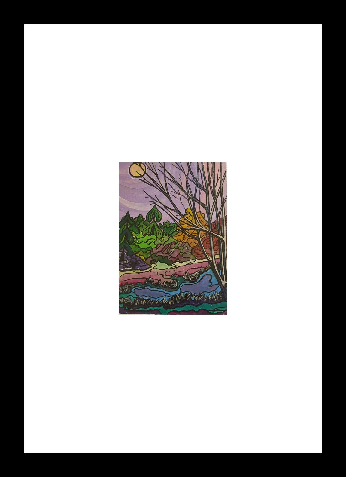 """Duck Pond"" [2018] Image: 5"" x 7"". Framed: 10"" x 16"" Acrylic on 246 lb. paper $200.00"
