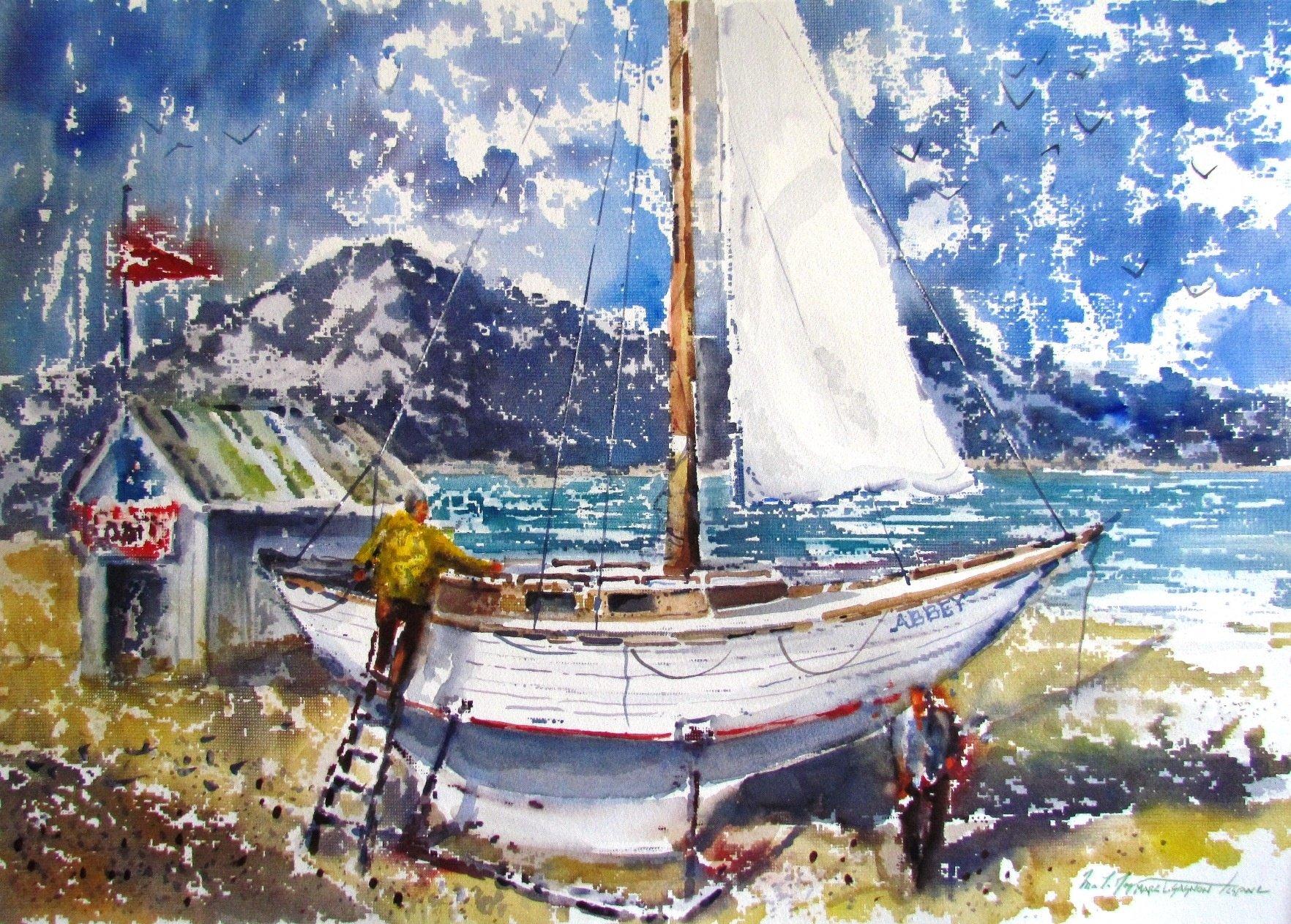 """Sailing Soon 22"""" x 30"""" watercolour"""
